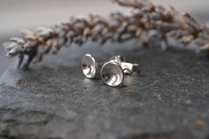 Domed circle sterling silver stud earrings £12.00