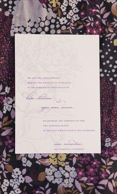 elegant peony wedding invitation