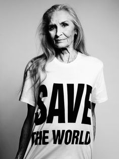 Model Daphne Selfe wearing Katharine Hamnett's design for Selfridges's save-the-oceans campaign #realbeauty