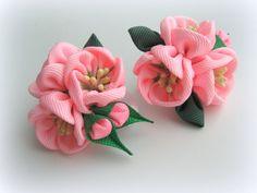 Girls Ponytail or Pigtail Bows on Elastic Holder. Set of 2 ponytails Sakura pink. Fabric flower Ponytails holder for girl, toddler.