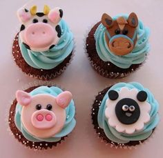 These cute farm themed cupcakes are perfect for kids, who love farm animals! Check out this collection of amazing cupcakes that were made by people from around the world. Farm Animal Cupcakes, Farm Animal Party, Animal Cakes, Farm Party, Barnyard Cupcakes, Cute Cupcakes, Cupcake Cookies, Themed Cupcakes, Birthday Cupcakes