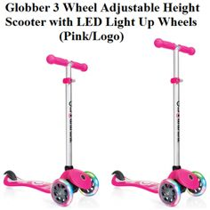Check Globber 3 Wheel Adjustable Height Scooter with LED Light Up Wheels in Pink and Logo, the cute, flexible and secure, featuring logo scooter that is constructed with T-bar dual-injection handlebars.
