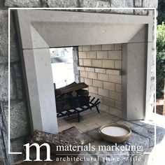 Charcoal Limestone Fireplace Surround Charcoal Limestone Fireplace Surround, in a honed finish, with Limestone Block, Limestone Fireplace, Architectural Materials, Custom Fireplace, Fireplace Surrounds, Stone Carving, Travertine, Natural Stones, Outdoor Gardens