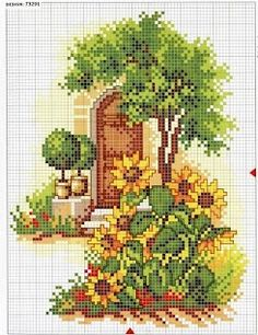 Sunflowers and Door