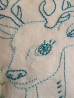 Forest Friends Deer in turquoises - NEEDLEWORK