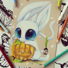 Ori [done one Strathmore toned tan paper using Prismacolors and gel pens] game, ori, and, the, blind, forest, drawing, art
