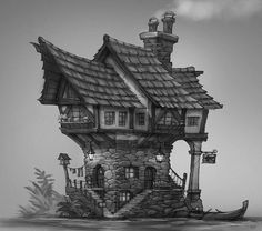 Art of Shaun Keenan 3d Fantasy, Fantasy House, Fantasy Landscape, Medieval Fantasy, Environment Concept Art, Environment Design, Building Concept, Building Design, Detail Architecture