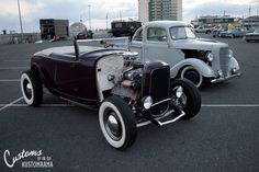 Another shot of Brian Cannon's 1932 Ford cabriolet and Chris Ball's 1937 Ford pick up at the first Customs by the Sea in Wildwood New Jersey.
