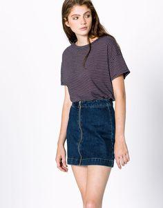Pull&Bear - woman - clothing - t-shirts - short-sleeve striped t-shirt - maroon - 09244357-V2017