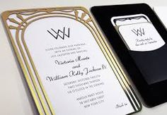 Image result for laser cut black and gold invitations