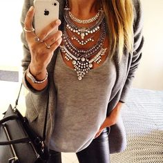 Glamorous Over The Top Statement Necklace #fashion #style #ootd #silvernecklace…