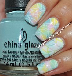 white base of Zoya Purity and then doing one nail at a time, made blobs of polish using China Glaze: Lemon Fizz, Something Sweet, Re-fresh Mint, and Kinetic Candy. Using saran wrap to muddle the colors. stamped using BM 208 in Konad White.
