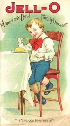 vintage jell-o ad, boy in red bowtie, blue shorts, wooden chair Jello, American's Best Family Dessert,