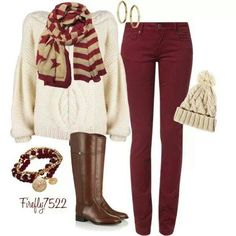 Winter outfit! ♥ this reminds me of Ron's sweater he got for Xmas in HP Sorcerer's Stone