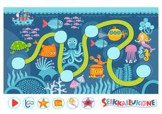 Seikkailukone | tulostettava | paperi | kartta | peli | tehtävä |  vedenalainen maailma | lapset | game | map | children | kids | free printable | Pikku Kakkonen