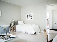 This small home is painted entirely in a green-grey tint which combined with the white washed floors gives the home a very fresh look. Room Design, Home, Small Room Design, White Washed Floors, My Scandinavian Home, Living Room Inspiration, Interior Design Bedroom, Apartment Bedroom Design, Bedroom Wall Colors