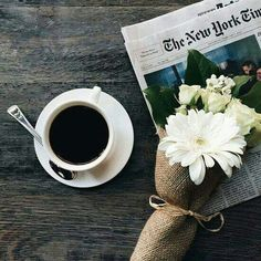 coffee, flowers, and newspaper image