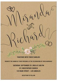 Modern calligraphy with greenery floral simulated kraft paper wedding invitation with hearts and rings.