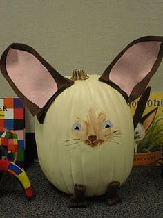 Love this idea! Students decorate a pumpkin like their favorite book character! Can't find it on the site...but the picture is enough...would be great at a fall school fair!