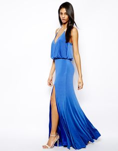 Forever Unique Plunge Neck Maxi Dress with Thigh Split