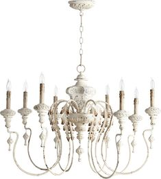 This Salento Chandelier by Quorum features an Persian White finish, that will bring a terrific look to any room. Persian White Height x Width 8 x 60 Watt Candelabra bulbs (not included) Weight: lbs Part of Salento Collection UL Listed: Dry French Country Chandelier, Farmhouse Chandelier, White Chandelier, Chandelier Ceiling Lights, Beaded Chandelier, Chandelier Lighting, Farmhouse Lighting, Ceiling Fans, Iron Chandeliers