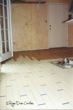 Rayne Daze Creations: Faux Wood Painted Concrete Floor (for the garage? Painted Cement Floors, Faux Wood Paint, Faux Wood Flooring, Painting Concrete, Concrete Wood, Stained Concrete, Painting On Wood, Paint Stain, Parquet Flooring