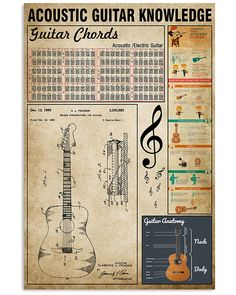 Acoustic Guitar Knowledge shirts, apparel, posters are available at TeeAvan. Dj Music, Music Guitar, Playing Guitar, Music Stuff, Basic Guitar Lessons, Music Lessons, Music Education, Education Quotes, Recording Studio Design