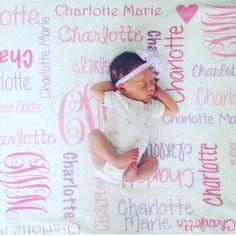 Baby Girl Blanket Personalize Baby Blanket Monogram Baby Blanket Name Blanket Swaddle Receiving Blanket Baby Shower Gift by CuddleMuffinsBlanket on Etsy https://www.etsy.com/listing/386563724/baby-girl-blanket-personalize-baby