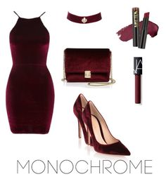 """Royal Red Velvet"" by mizzvi ❤ liked on Polyvore featuring Oh My Love, Gianvito Rossi, NARS Cosmetics, KC Jagger and Charlotte Russe"