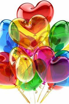 Rainbow Colors, heart balloons ✿⊱╮                                                                                                                                                      More