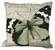 Black White & Green Butterfly Pillow Cover by Soeuralasoeur, $35.00