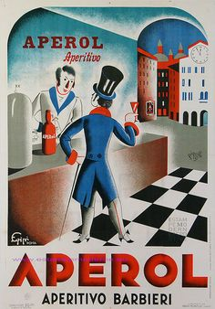 Vintage Italian Posters ~ PIQUILLO 1931 APEROL APERITIVO BARBIERI GROSS-MONTI