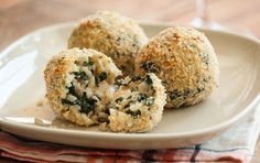 Traditional arancini, or Italian rice and cheese balls, are fried. This rustic, healthful take on the Italian classic uses brown rice and kale to create the perfect crowd-pleasing meal or appetizer. Serve these crispy arancini with a side of marinara sauce or a spicy pepper purée for dipping.
