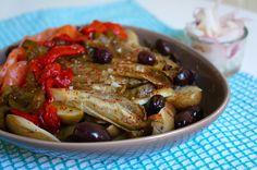 Ensalada de patata, endivia asada y salmón