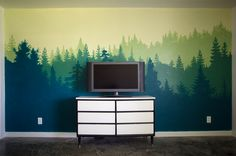 Forest Wall Mural - Bedroom Makeover - littleladylittlecity.com