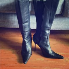 Genuine leather black boots Black boots with a silver heel Shoes Heeled Boots