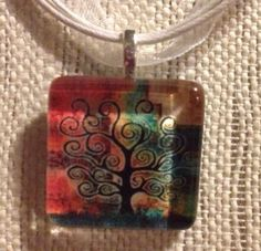 Tree Of Life Abstract Glass Tile Pendant Ribbon Necklace Altered Art Handmade