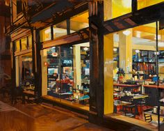 Kenny & Zukes - Portland 24x30 - oil on panel     .......  Kenny & Zukes is a deli near Powell's Books in Portland. I found it last Spring while I was on a photo junket. I really liked the way the inside was bright and lively against the stark and dark street outside. The stainless steel features inside picked up every reflection from the streetlights and business signs outside and I was just drawn to photograph it and eventually paint it.