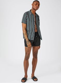 d56f2f67bc Black Embroidered Logo Swim Shorts - TOPMAN USA Swim Shorts, Men's Swimwear,  Beachwear,