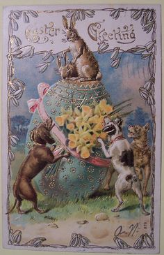Vintage Easter postcard - A dachshund and Jack Russell Terrier chase the Easter bunny to the top of a giant egg Vintage Greeting Cards, Vintage Postcards, Vintage Images, Easter Art, Easter Bunny, Easter Eggs, Vintage Easter, Vintage Holiday, Engraving Illustration