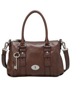 Fossil Handbag, Maddox Leather Satchel - Fossil - Handbags & Accessories - Macy's