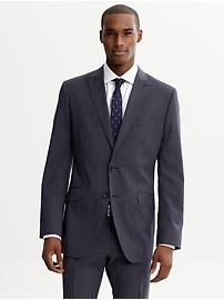 Tailored fit navy pinstripe Italian wool two-button suit blazer