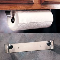 NEW PRODYNE STAINLESS STEEL UNDER CABINET PAPER TOWEL HOLDER RACK WALL MOUNT