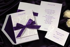 Simple, elegant, purple. Wedding invitations.