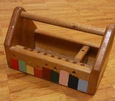 "Vintage wooden ""pencil"" desktop school office pen holder organiser handcrafted"