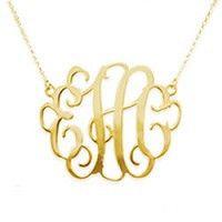 Gold Script Cut Out Monogram Necklace