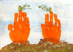 Pumpkin Handprint Kid's Craft Kit  Custom by GiftsbyGaby on Etsy, $22.80