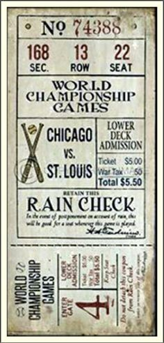 World Championship Game: Chicago Vs St. Louis (Reproduction)