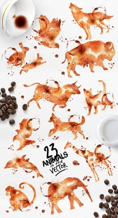Coffee Animals Stains by GoodShopDesign on Etsy