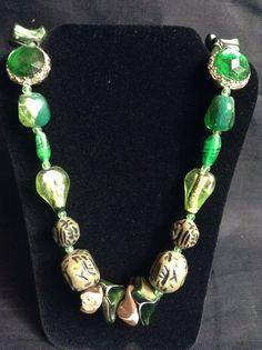 Vintage Sterling Green Glass Gemstone Chunky Art Deco Necklace Boho